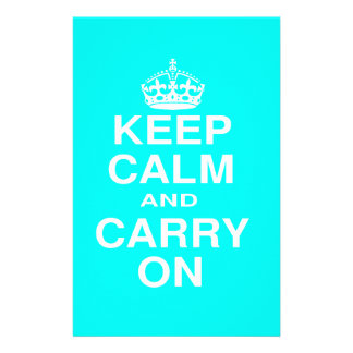 Keep Calm and Carry On Teal and White Stationery