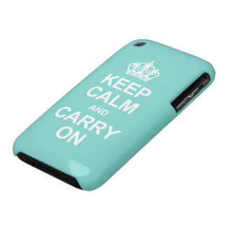 Keep Calm and Carry On - Teal Blue iPhone 3 Covers