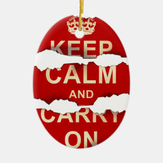 Keep Calm and Carry On Textured Torn Paper Vintage Ceramic Ornament