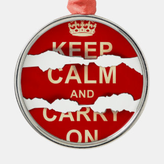 Keep Calm and Carry On Textured Torn Paper Vintage Metal Ornament
