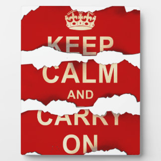 Keep Calm and Carry On Textured Torn Paper Vintage Display Plaque