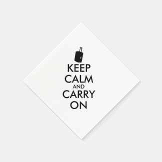 Keep Calm and Carry On Travel Custom Standard Cocktail Napkin