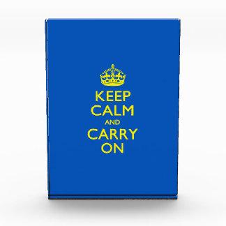KEEP CALM AND CARRY ON True Blue Acrylic Award