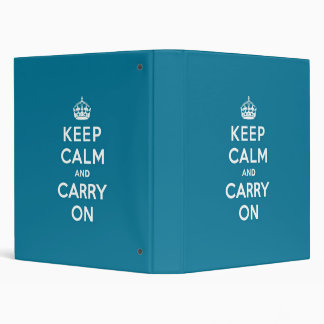 Keep Calm and Carry On Turquoise Blue Binder