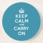 Keep Calm and Carry On Turquoise Blue Drink Coaster