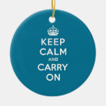 Keep Calm and Carry On Turquoise Blue Ornaments