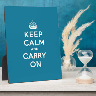Keep Calm and Carry On Turquoise Blue Photo Plaques