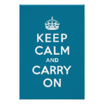 Keep Calm and Carry On Turquoise Blue Posters