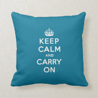 Keep Calm and Carry On Turquoise Blue Throw Pillow