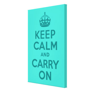 Keep Calm and Carry On Turquoise Wrapped Canvas