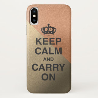KEEP CALM AND CARRY ON / two tone glitter iPhone X Case