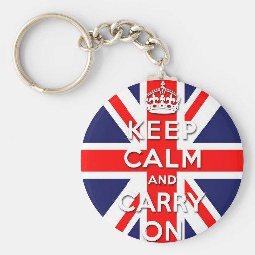 keep calm and carry on Union Jack flag Basic Round Button Keychain
