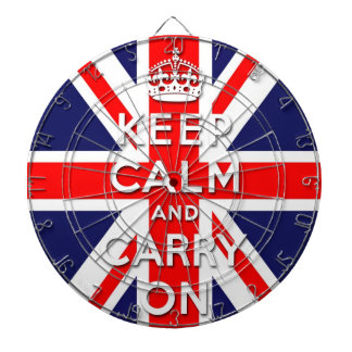 keep calm and carry on Union Jack flag Dartboard With Darts