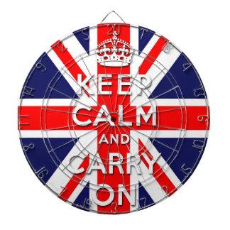 keep calm and carry on Union Jack flag Dartboard With Darts