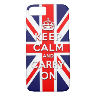 keep calm and carry on Union Jack flag iPhone 7 Case