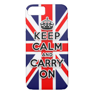 keep calm and carry on Union Jack flag iPhone 8/7 Case