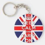 keep calm and carry on Union Jack flag Key Chain