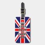 keep calm and carry on Union Jack flag Travel Bag Tags