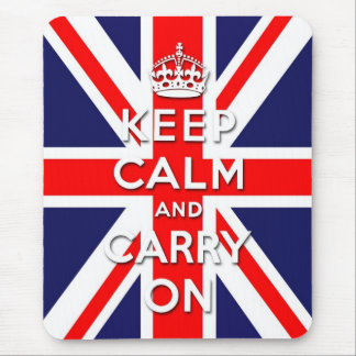 keep calm and carry on Union Jack flag Mouse Pad