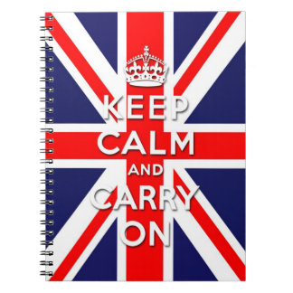 keep calm and carry on Union Jack flag Notebooks