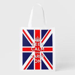 Keep calm and carry on -  Union Jack flag Reusable Grocery Bag
