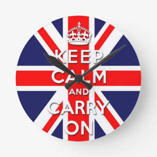 keep calm and carry on Union Jack flag Round Clock