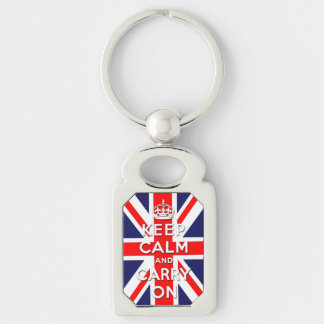 Keep calm and carry on -  Union Jack flag Silver-Colored Rectangular Metal Keychain