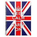 keep calm and carry on Union Jack flag Spiral Note Book