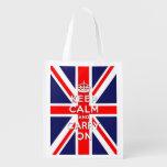 Keep calm and carry on -  Union Jack flag Grocery Bag