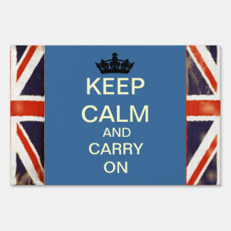 Keep Calm And Carry On Union Jack Yard Sign