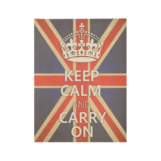 Keep Calm and Carry On United Kingdom Union Jack Wood Poster