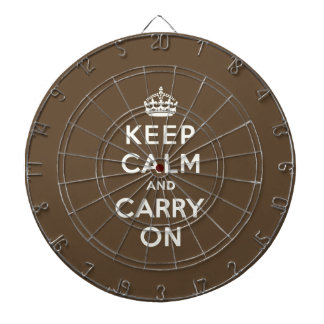 Keep Calm and Carry on Vanilla on Chocolate Brown Dartboard