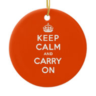 Keep Calm and Carry On Vermillion Ornament