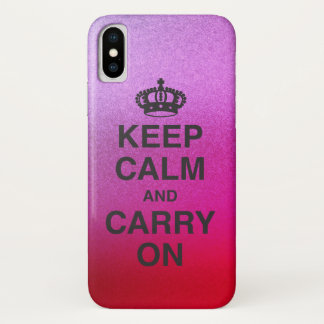KEEP CALM AND CARRY ON / Vibrant Glitter Gradient iPhone X Case