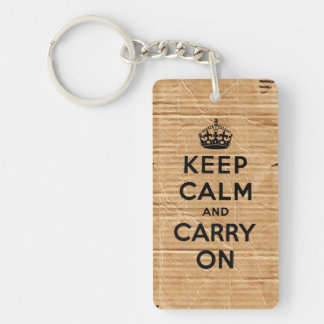 keep calm and carry on vintage cardboard keychain