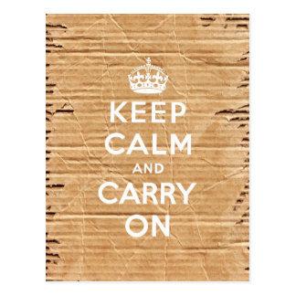 keep calm and carry on vintage cardboard postcard