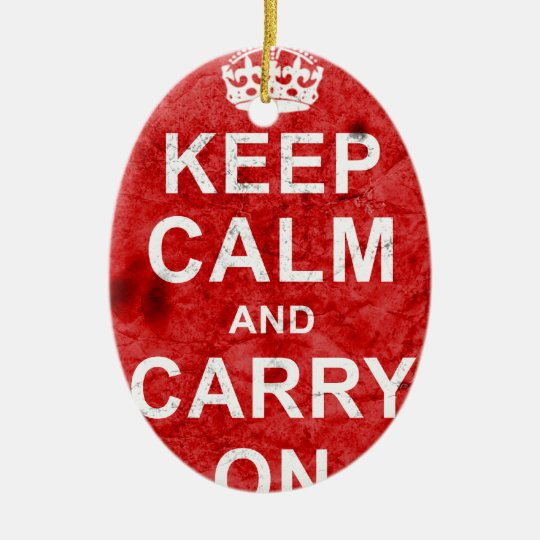 Keep Calm and Carry On Vintage Ceramic Ornament