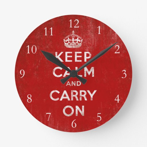 Keep Calm and Carry On, Vintage Wall Clock