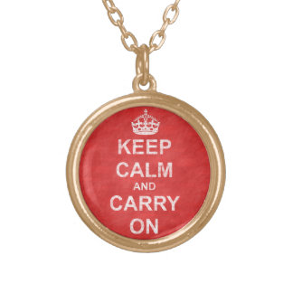 Keep Calm and Carry On Vintage Gold Plated Necklace