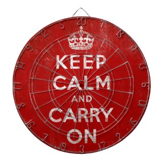 Keep Calm and Carry On Vintage Grunge Red Dart Board