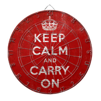 Keep Calm and Carry On Vintage Grunge Red Dartboard With Darts