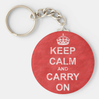 Keep Calm and Carry On Vintage Basic Round Button Keychain
