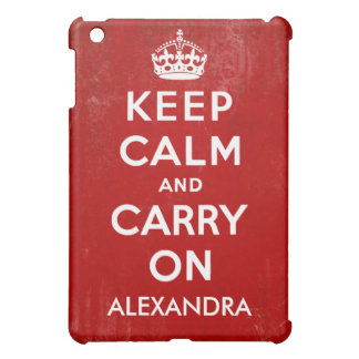 Keep Calm and Carry On Vintage Name iPad Mini Cover