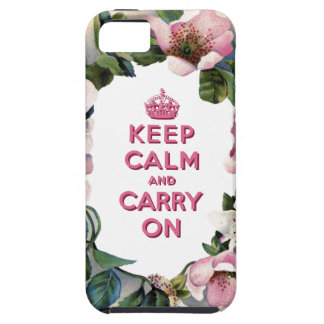 KEEP CALM AND CARRY ON VINTAGE PINK FLORAL iPhone 5 COVERS