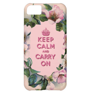 KEEP CALM AND CARRY ON VINTAGE PINK FLORAL iPhone 5C COVERS