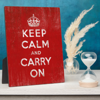 Keep Calm and Carry On, Vintage Red and White Display Plaques