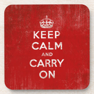 Keep Calm and Carry On, Vintage Red and White Drink Coaster