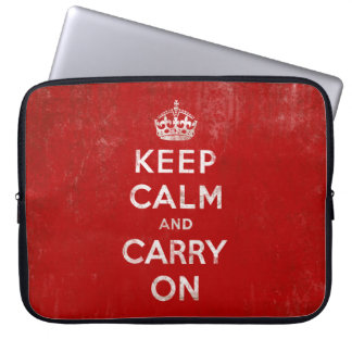 Keep Calm and Carry On, Vintage Red and White Computer Sleeve Cases