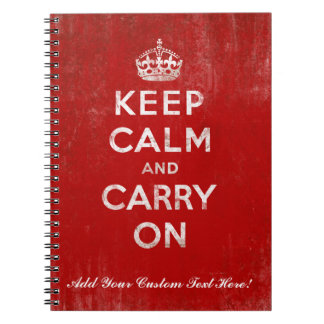 Keep Calm and Carry On, Vintage Red and White Spiral Notebooks