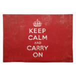 Keep Calm and Carry On Vintage Red Cloth Place Mat